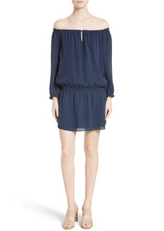 Joie Kay Off the Shoulder Silk Blouson Dress