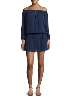 Joie Kay Off-the-Shoulder Silk Blouson Dress