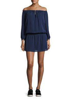 Joie Kay Off-the-Shoulder Silk Blouson Dress