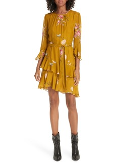 Joie Kayane Asymmetrical Tiered Ruffle Silk Dress