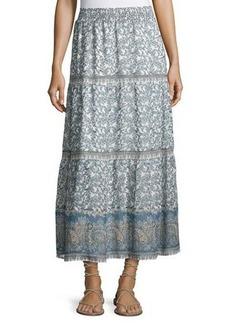 Joie Kenath Floral-Print Silk Prairie Skirt