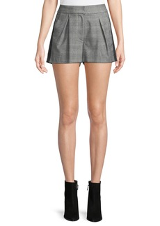 Joie Kevlyn Pleated Side-Stripe Plaid Shorts