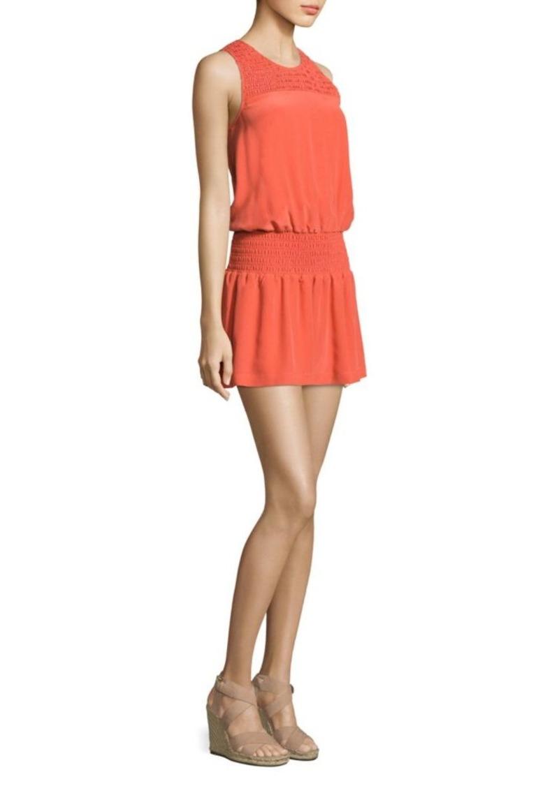 Joie Kieren Smocked Silk Dress