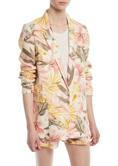 Joie Kishina Printed One-Button Linen Blazer