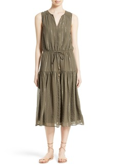 Joie Klea Metallic Stripe Silk Midi Dress