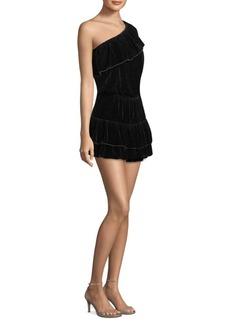 Kolda B Velvet One-Shoulder Dress