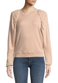 Joie Korbyn Puff-Sleeve Cotton Crewneck Pullover Sweatshirt