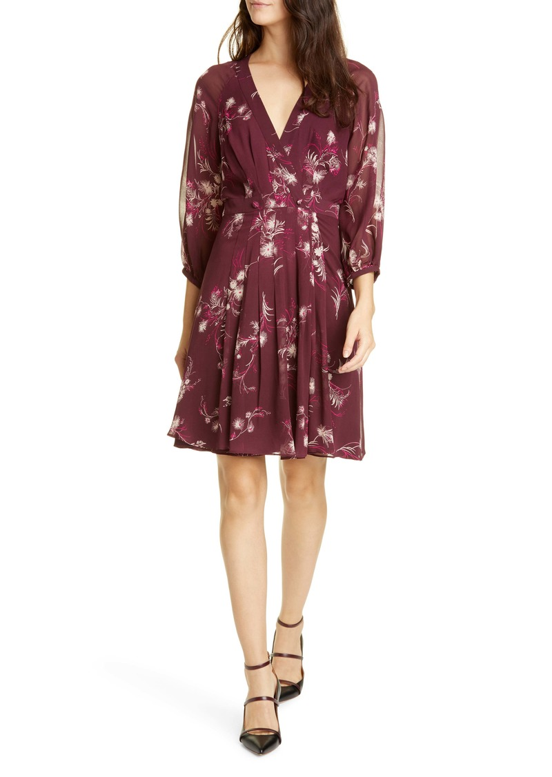 Joie Korel Floral Mock Wrap Silk Dress