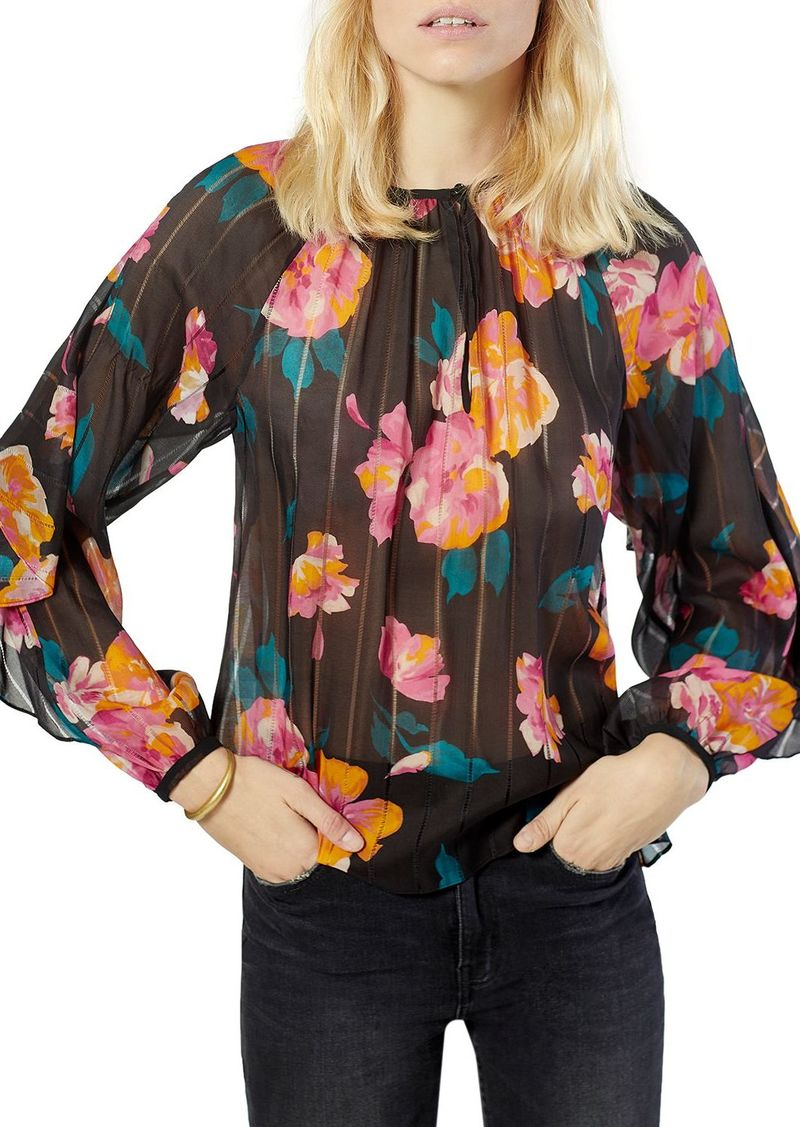 Joie Kriston Silk Floral Print Top