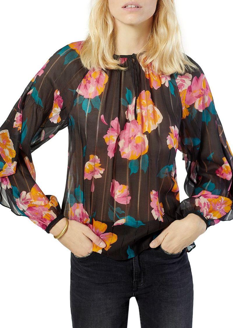 Joie Kriston Silk Floral Print Top