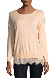 Joie Lace-Trimmed Sweater