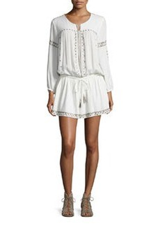 Joie Laka Metallic-Trim Blouson Mini Dress