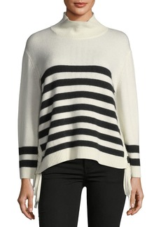 Joie Lantz Striped Turtleneck Wool-Cashmere Sweater w/ Tie Sides
