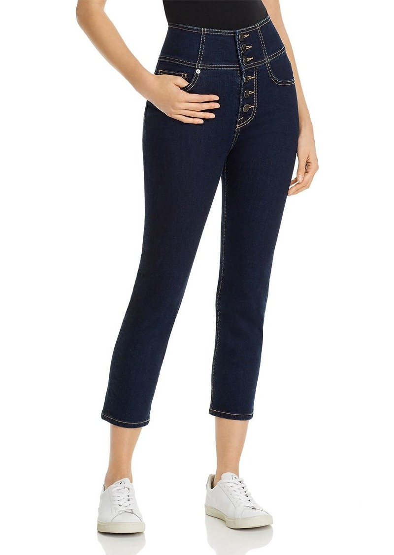 Joie Laurelle High-Rise Cropped Straight-Leg Jeans in Moonstone