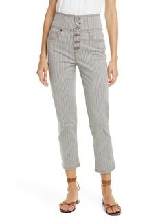 Joie Laurelle Topstitch Stripe Button Fly Pants