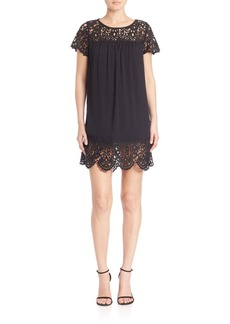 Joie Lea Rayon Crepe Lace Dress