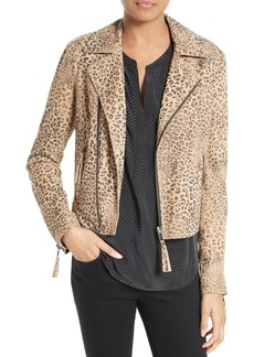 Joie Leopard Print Leather Jacket