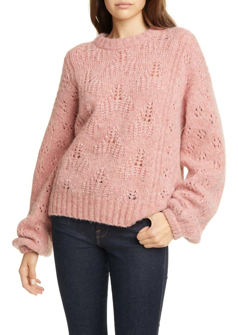 Joie Lihui Pointelle Detail Balloon Sleeve Wool & Alpaca Sweater