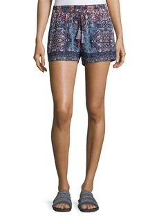 Joie Lindee Printed Drawstring Silk Shorts