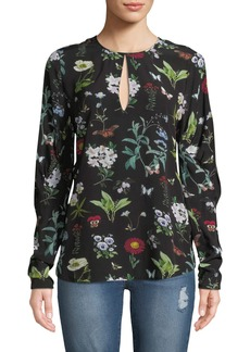 Joie Liseli Floral Long-Sleeve Keyhole Top