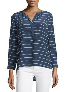 Joie Long-Sleeve Striped Silk Blouse