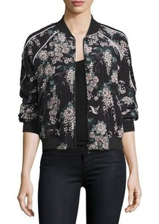 Joie Mace Floral-Print Silk Bomber Jacket