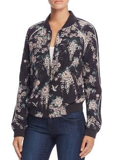 Joie Mace Floral Silk Bomber Jacket