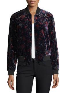 Joie Mace Quilted Velvet Bomber Jacket