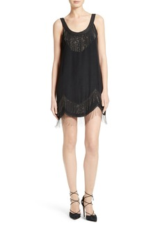 Joie Madras Fringed Silk Scallop Hem Dress