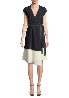 Joie Mahesa Colorblock Cocktail Wrap Dress