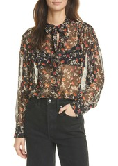 Joie Maiza Floral Print Sheer Long Sleeve Silk Top