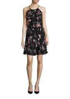 Joie Makana Ikat Floral Print Silk Halter Dress