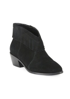 Joie Makena Fringed Suede Block Heel Booties
