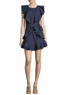 Joie Malachy Ruffled Pindot Dress