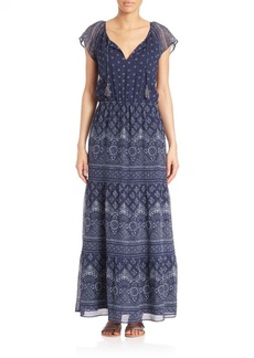 Joie Manalia Silk Batik-Print Maxi Dress
