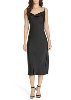 Joie Marcenna Cowl Neck Satin Midi Dress