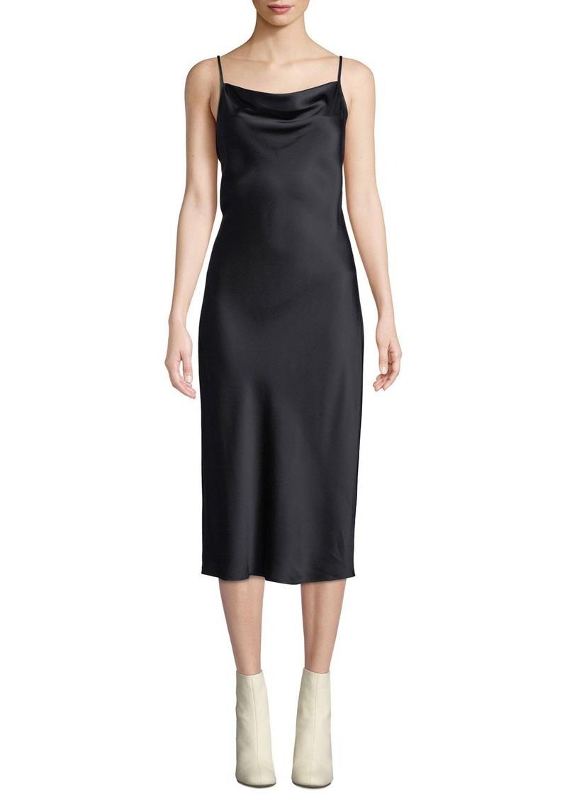 Joie Marcenna Cowl-Neck Sleeveless Satin Midi Slip Dress