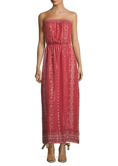 Joie Mariele Metallic Silk Strapless Maxi Dress