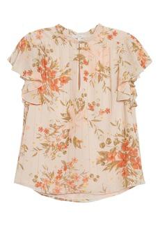 Joie Marlina Cap Sleeve Floral Metallic Stripe Silk Top