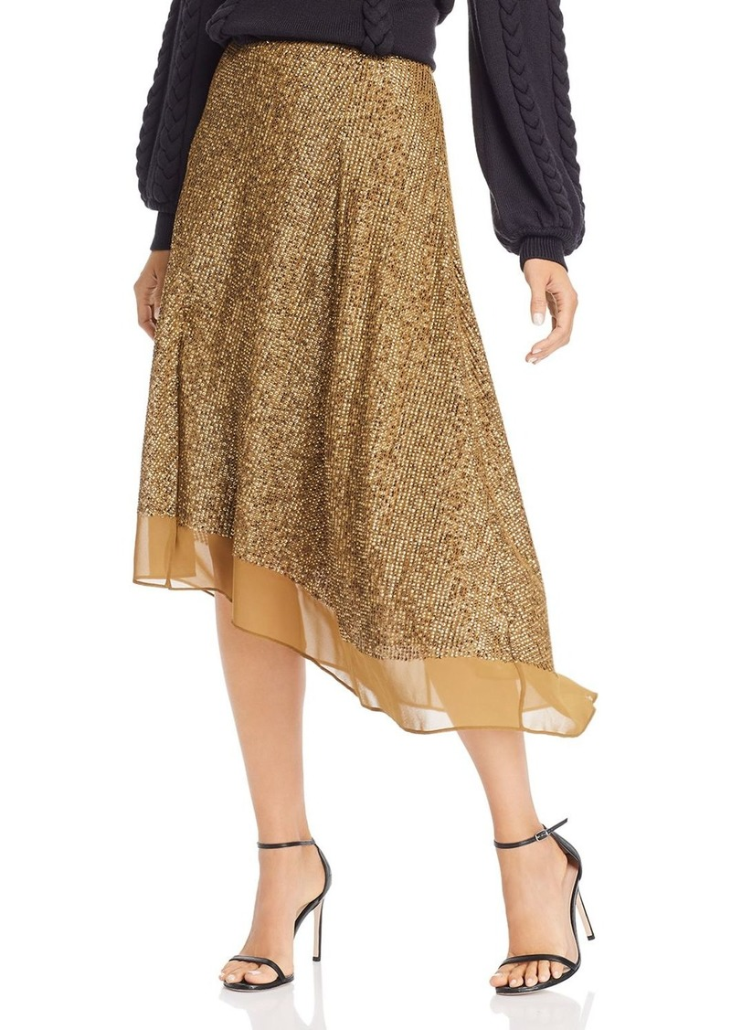 Joie Marsie Asymmetric Matte Sequin Midi Skirt