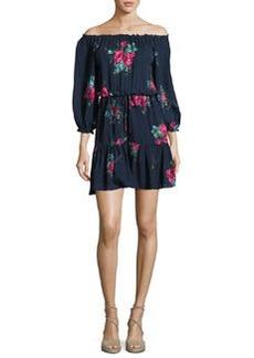 Joie Marx Floral-Print Off-the-Shoulder Silk Blouson Mini Dress