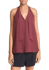 Joie 'Melisent' Sleeveless Tie Neck Silk Blouse