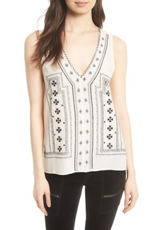 Joie Merles Embroidered Silk Top