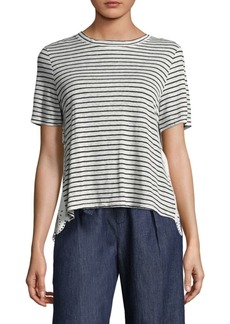 Joie Mikiyo Striped Linen Eyelet Back Tee