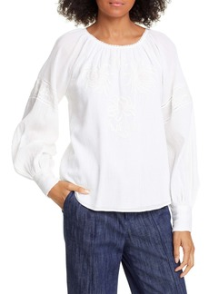 Joie Mitney Embroidered Detail Cotton Blouse