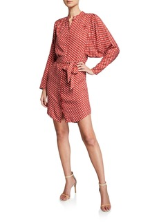 Joie Myune Dot-Print Batwing-Sleeve Shirt Dress