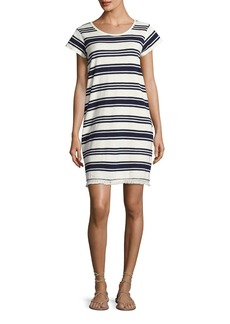 Joie Nanae Striped Cotton Tassel-Hem Shift Dress