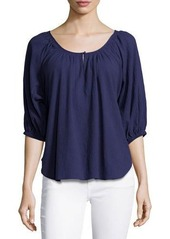 Joie Nancy Scoop-Neck Cotton Blouse