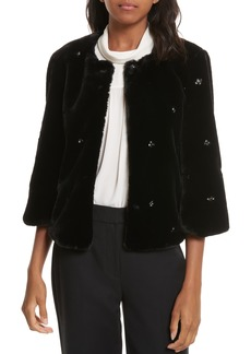 Joie Nayland Embellished Faux Fur Jacket