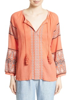 Joie Nelida Embroidered Cotton Blouse